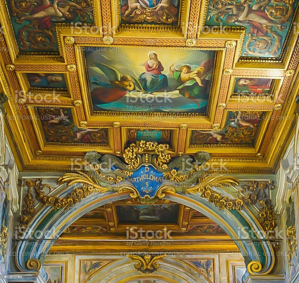 ROME , ITALY- OCTOBER 10, 2017: The Interior of the Basilica of St Bartholomew on Tiber Island stock photo