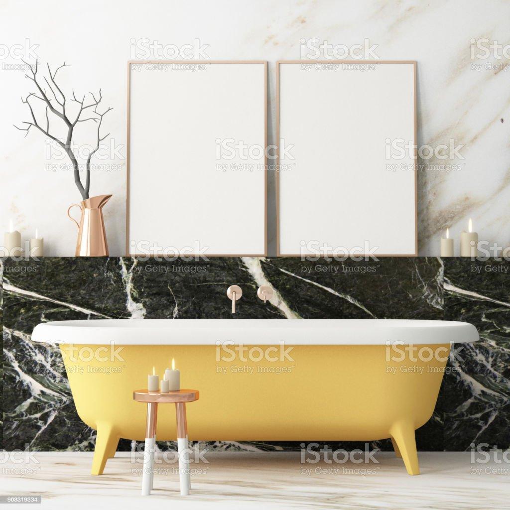 Das Interieur Des Badezimmers Ist Im Art Deco Stil 3d ...
