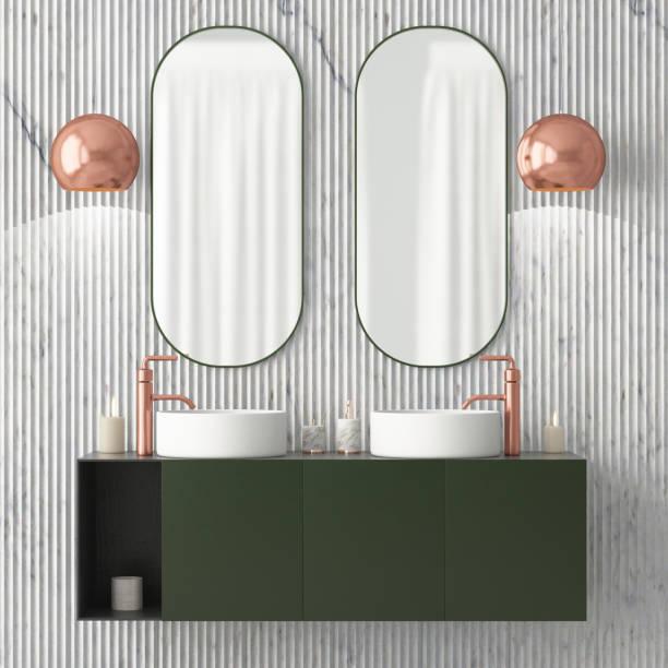 das interieur des badezimmers ist im art deco stil. 3d illustration - sanitäreinrichtung stock-fotos und bilder
