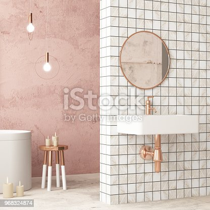 istock The interior of the bathroom is in Art Deco style. 3d illustration 968324874