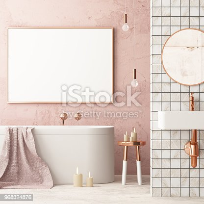 istock The interior of the bathroom is in Art Deco style. 3d illustration 968324876