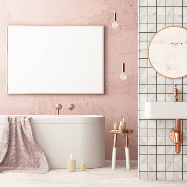 The interior of the bathroom is in Art Deco style. 3d illustration The interior of the bathroom is in Art Deco style. wallpaper decor stock pictures, royalty-free photos & images
