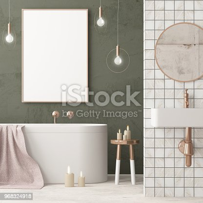 istock The interior of the bathroom is in Art Deco style. 3d illustration 968324918
