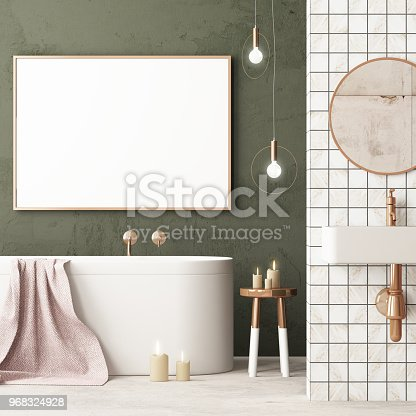 istock The interior of the bathroom is in Art Deco style. 3d illustration 968324928