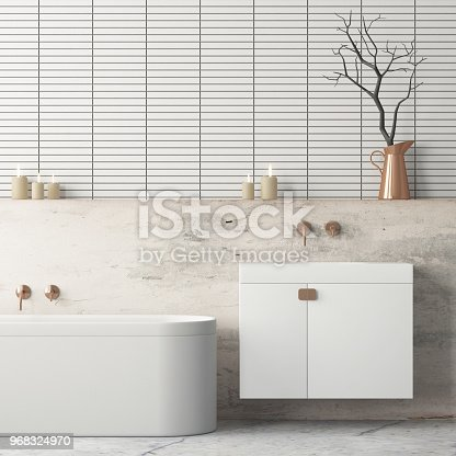 istock The interior of the bathroom is in Art Deco style. 3d illustration 968324970