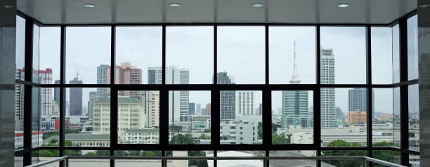 The interior of the building's view of the city from the office windows. stock photo