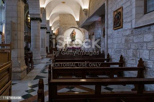Jerusalem, Israel, December 28, 2018 : The interior of the Chapel of Saint Catherine in Bethlehem in Palestine
