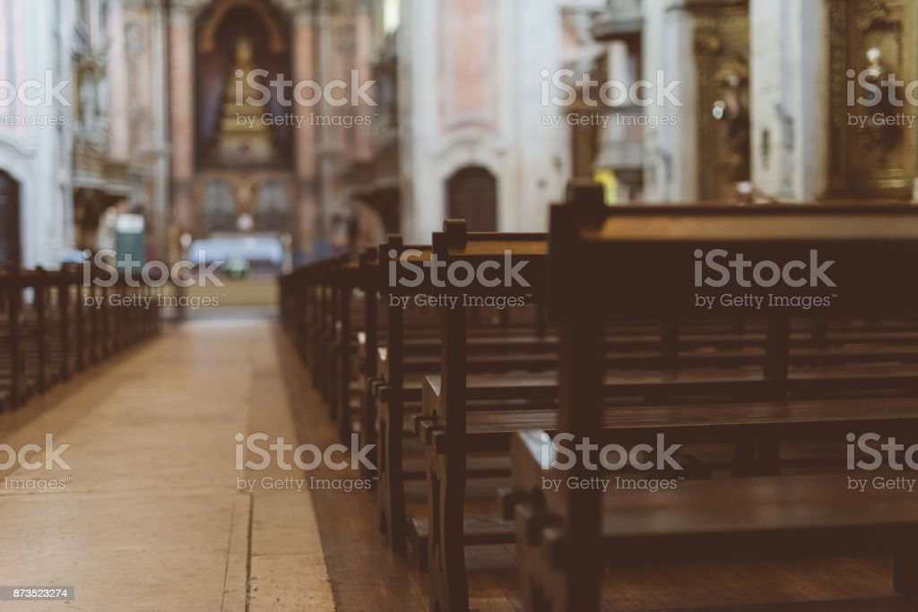 The interior of the church with benches. stock photo