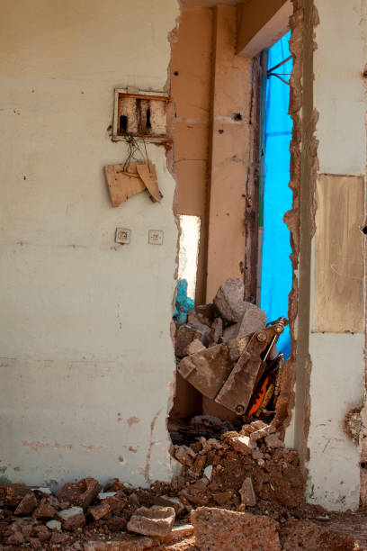 the interior of the destroyed building stock photo