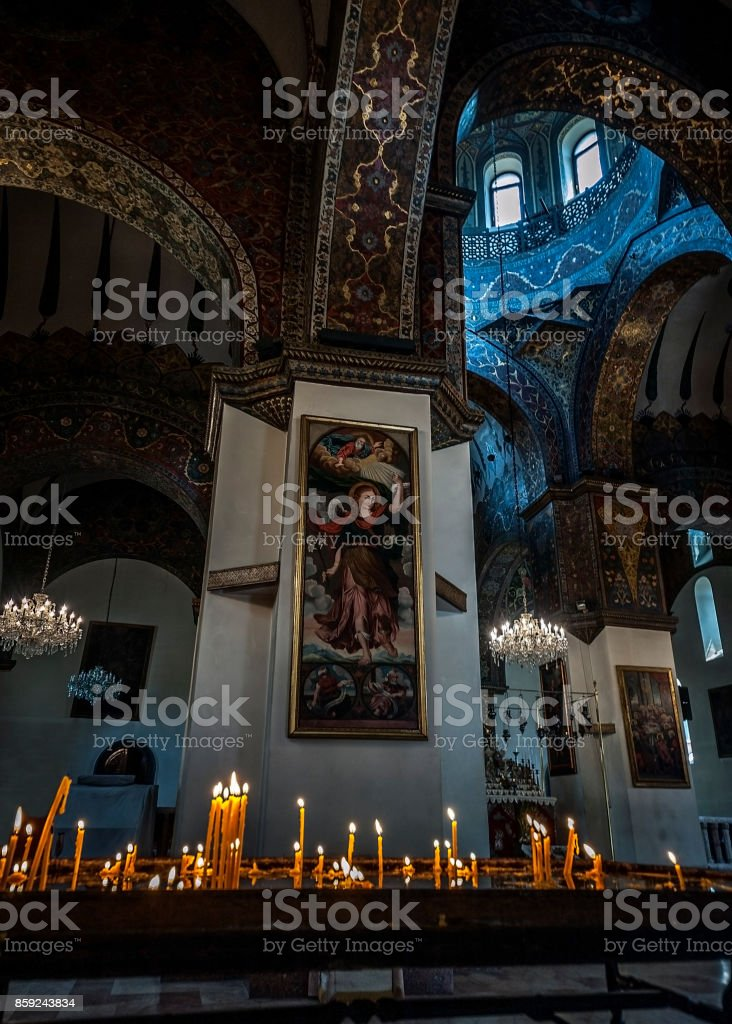The interior of the Etchmiadzin Cathedra.l stock photo