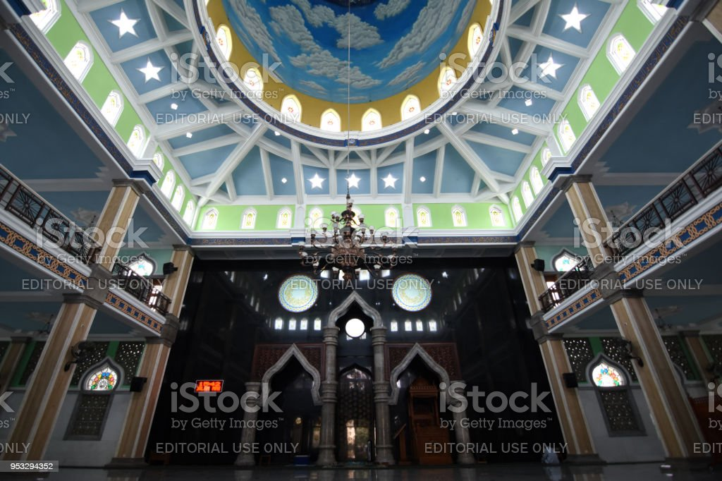 The interior of the great mosque of Trenggalek stock photo