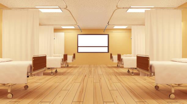 O interior do quarto de hospital. Quarto vazio. - foto de acervo