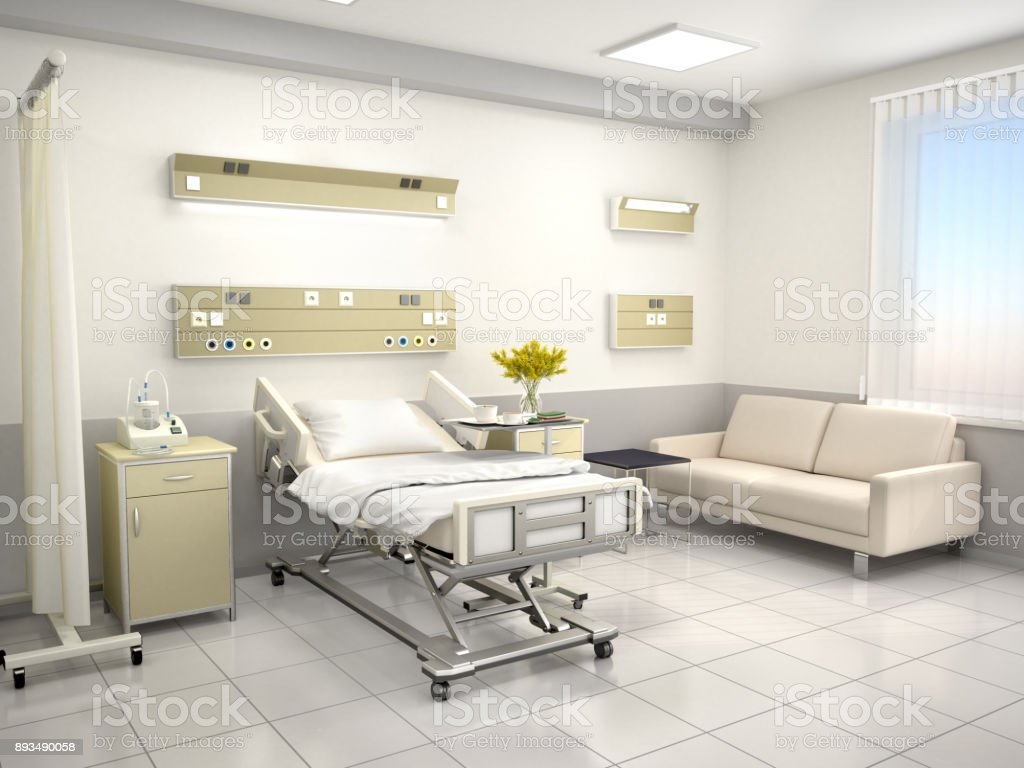 The interior of the hospital room stock photo