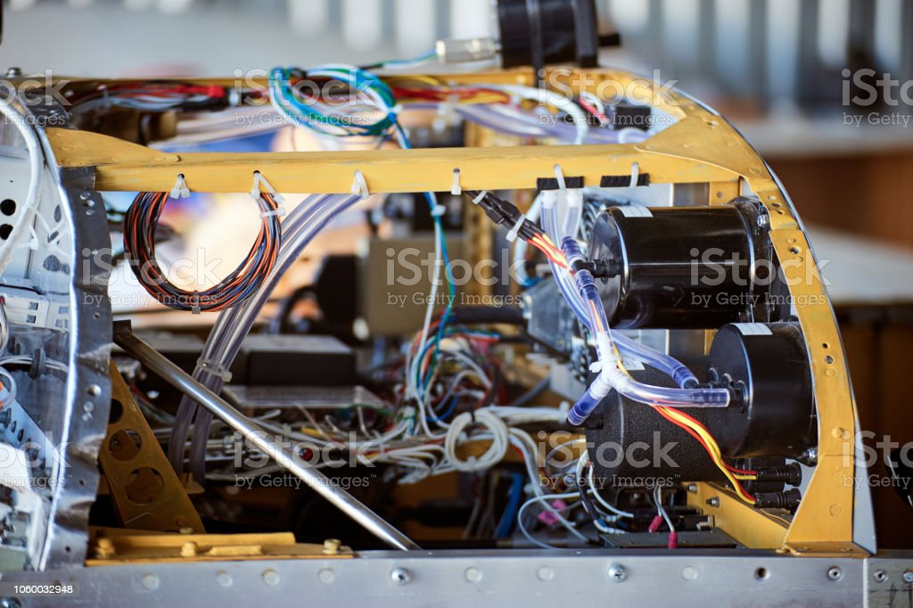 The interior of the instrument panel of a light single-engine aircraft without coating. stock photo