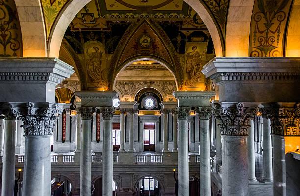The interior of the Library of Congress, Washington, DC. stock photo
