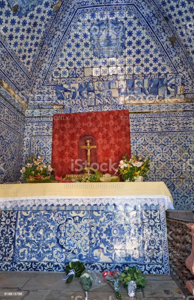 The interior of the Memory Chapel (Ermida da Memoria). Nazare. Portugal stock photo