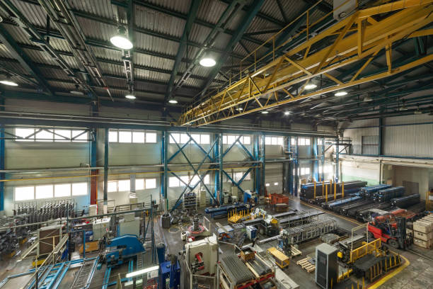 The interior of the metalworking shop. Modern industrial enterprise. stock photo