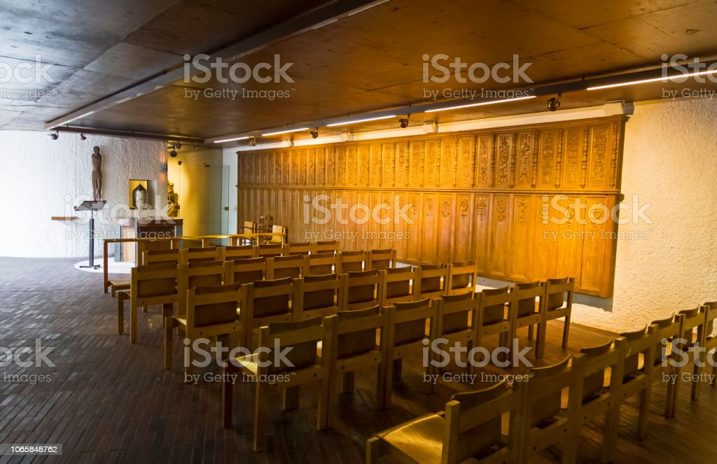 The Interior Of The Modern Catholic Church Stock Photo