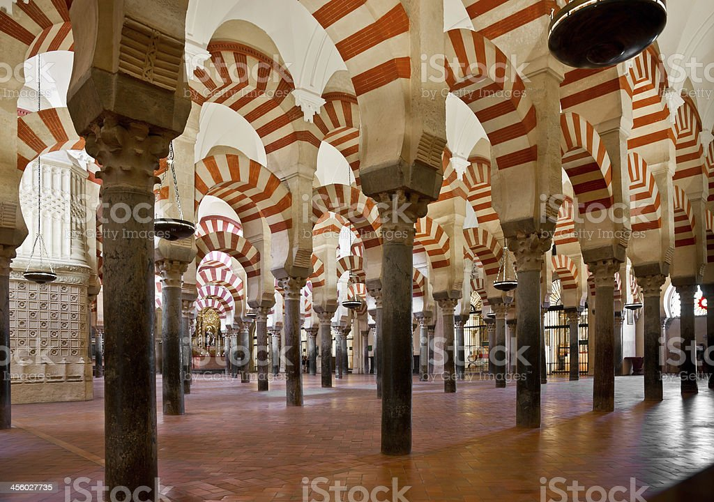 The interior of the Mosque Cathedral of Cardoba in Spain stock photo
