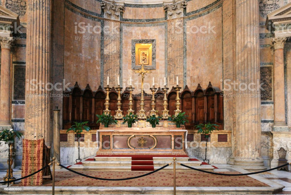 The Interior of the Pantheon, Rome, Italy. stock photo