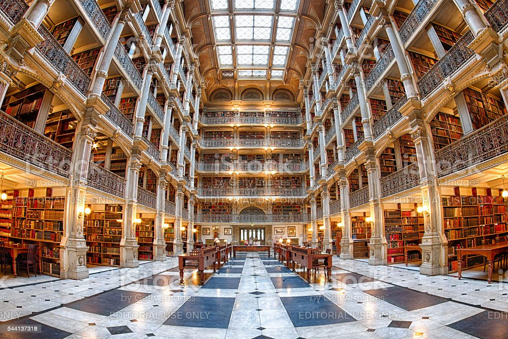 The interior of the Peabody Library stock photo