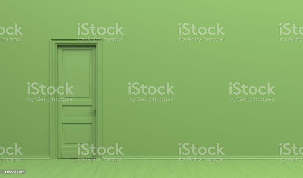 L'intérieur de la chambre en couleur vert monochrome uni avec porte simple. Fond vert avec l'espace de copie. Illustration de rendu 3D. - Photo de Affiche libre de droits