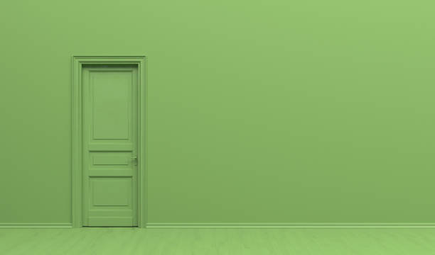The interior of the room  in plain monochrome green color with single door. Green background with copy space. 3D rendering illustration. 3D rendering illustration. monochrome stock pictures, royalty-free photos & images