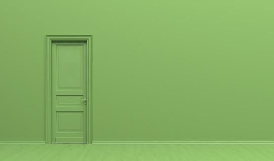Photo libre de droit de Lintérieur De La Chambre En Couleur Vert Monochrome Uni Avec Porte Simple Fond Vert Avec Lespace De Copie Illustration De Rendu 3d banque d'images et plus d'images libres de droit de Affiche