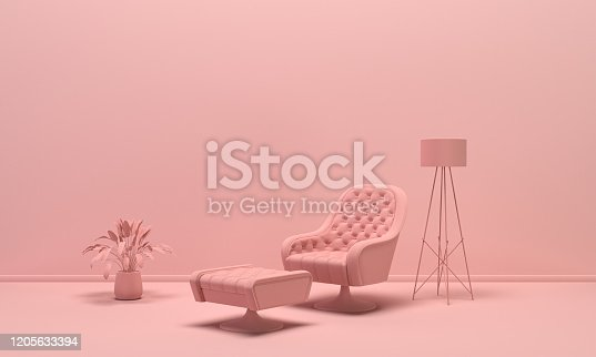 The interior of the room in plain monochrome light pink color with furnitures and room accessories. Light background with copy space. 3D rendering for web page, presentation or picture frame backgrounds.
