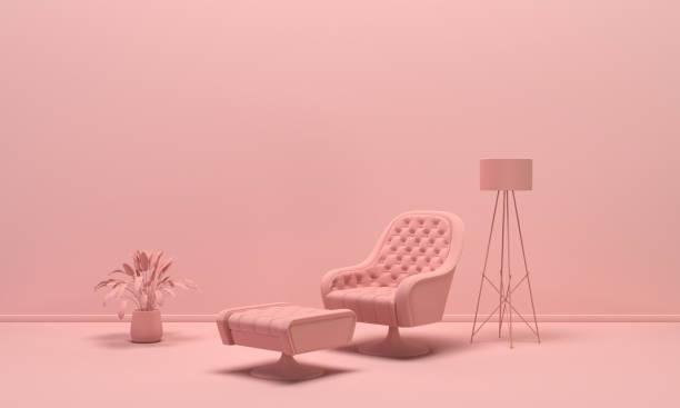 l'intérieur de la chambre en couleur rose clair monochrome uni avec fauteuil simple, lampe de sol et vases décoratifs. fond léger avec l'espace de copie. rendu 3d - monochrome image teintée photos et images de collection