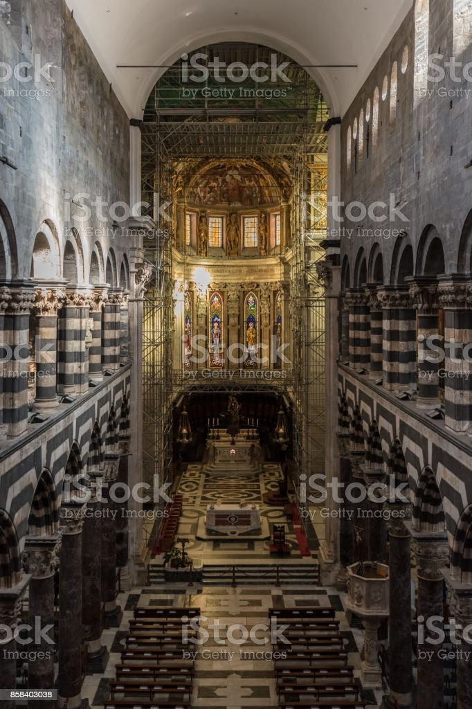 The interior of the San Lorenzo cathedral of Genoa stock photo