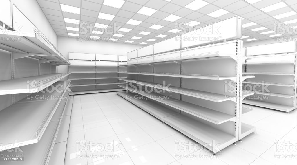The interior of the store with empty shelves for goods. stock photo
