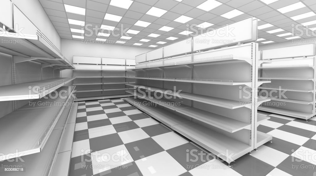 El interior de la tienda con los estantes vacíos para las mercancías. - foto de stock