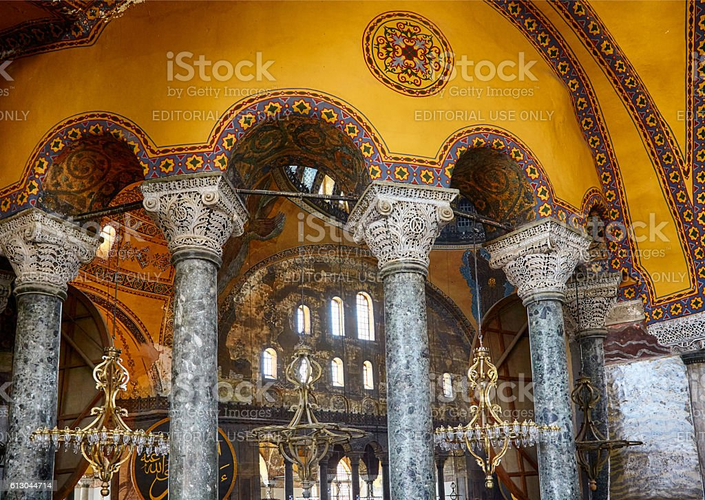 The Interior of the Upper Gallery in Hagia Sophia. Istanbul stock photo