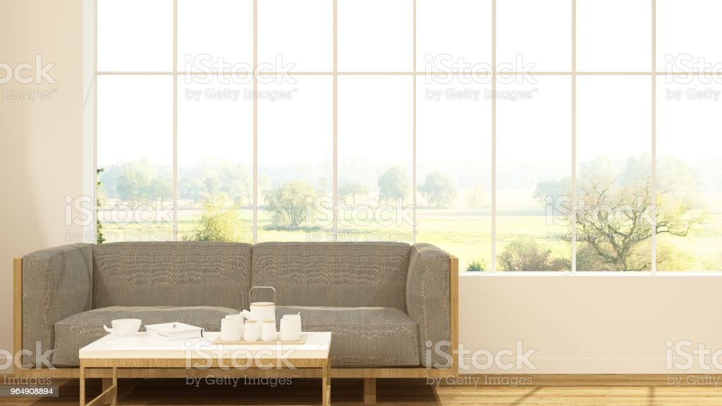 The interior relax space 3d rendering and background minimal japanese - Royalty-free Apartment Stock Photo