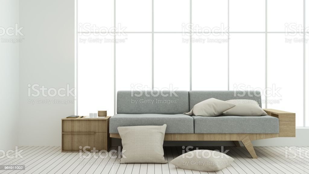 The interior relax space 3d rendering and background minimal japanese royalty-free stock photo