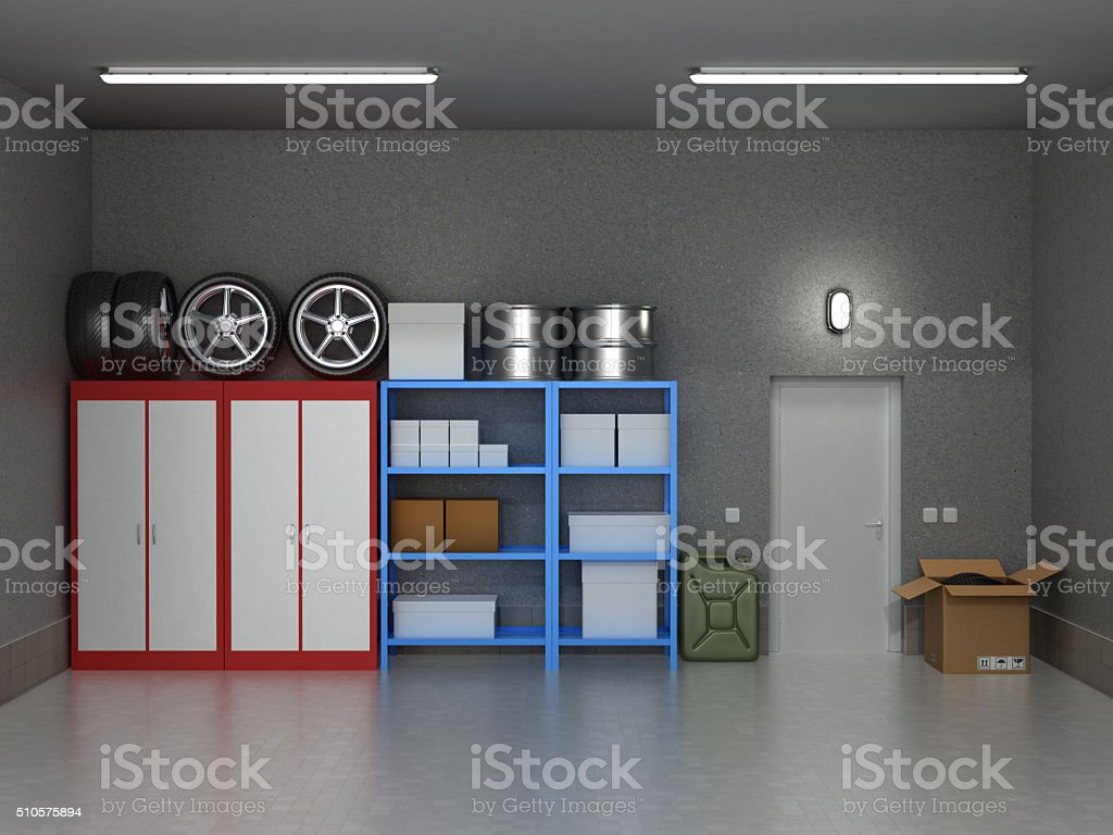 The interior suburban garage with wheels stock photo