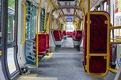 The interiorof a modern tram