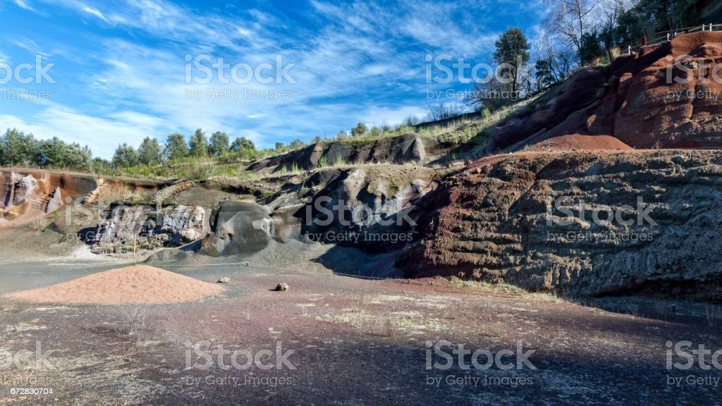 The internal structure of the volcanic cone stock photo