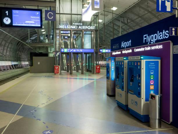 The international airport has been nearly empty during the coronavirus Covid-19 pandemic. stock photo