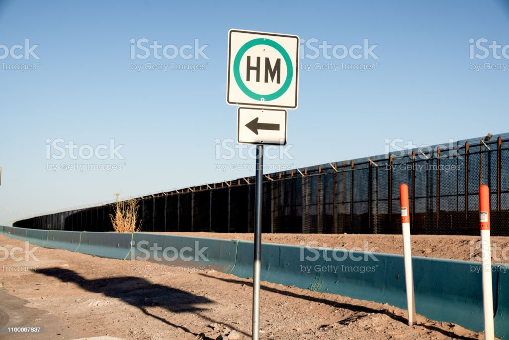 A view of the Border fence-like wall between the United States and...