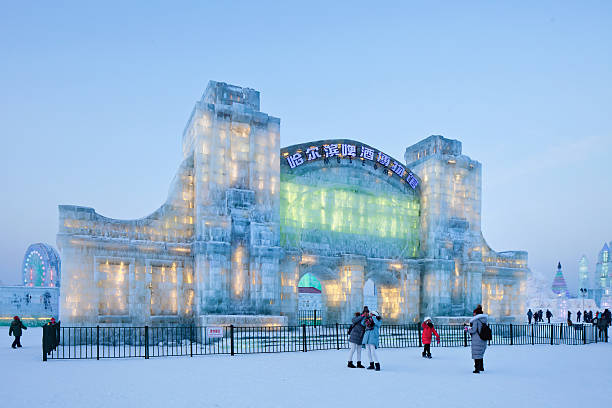 The International Ice and Snow Sculpture Festival, Harbin, Cina Harbin, China - February 13, 2015: The International Ice and Snow Sculpture Festival. Since 1985, the Harbin event has grown to become one of the biggest ice and snow festival destinations in the world. harbin stock pictures, royalty-free photos & images