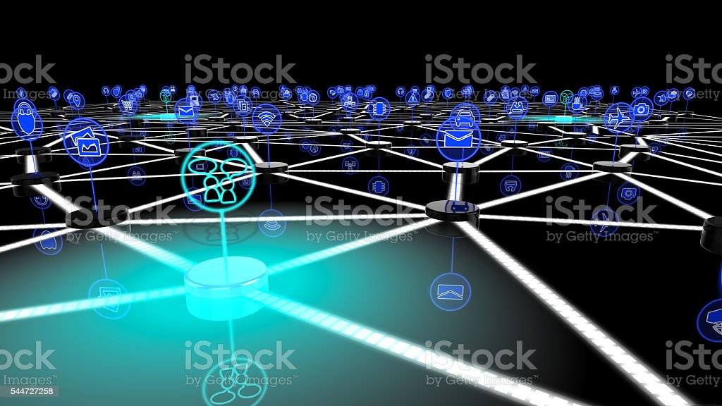 The internet of things social network stock photo