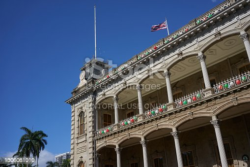 Honolulu, Hawaii, USA - Nov 23, 2019: Architectural details of the ʻIolani Palace, the royal residence of the rulers of the Kingdom of Hawaii.