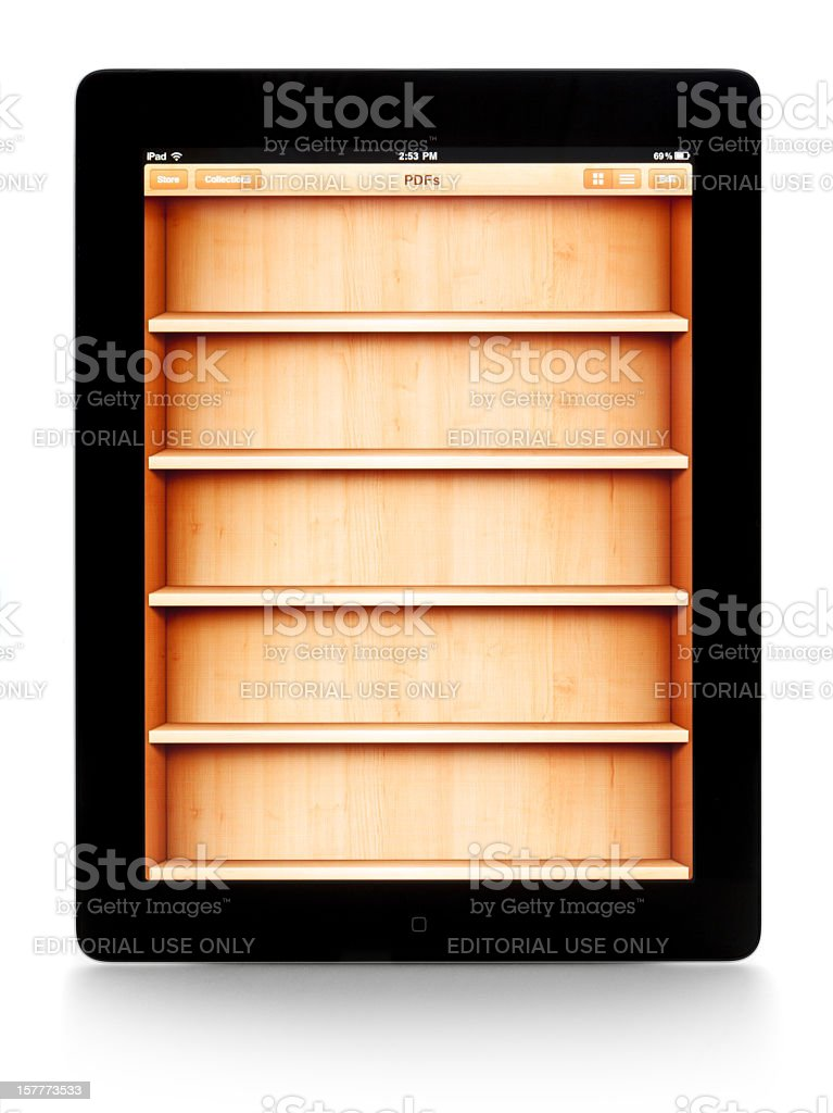 the iPad 2 and ibook app stock photo