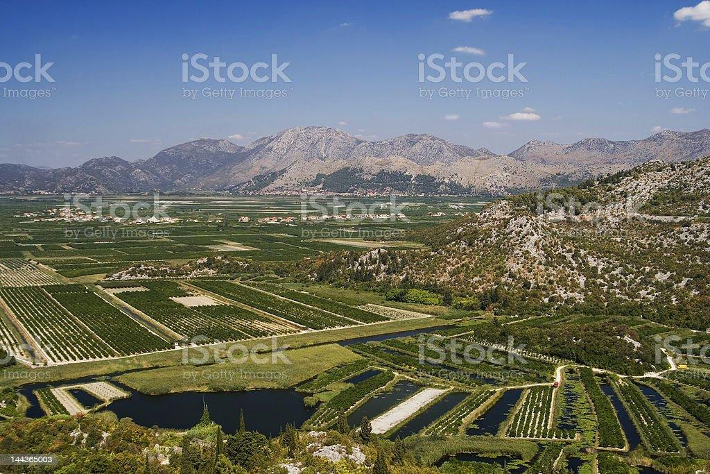 the irrigation scheme on river Neretva royalty-free stock photo