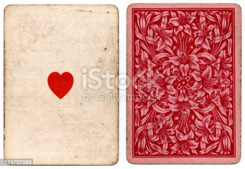 The is an ace of hearts playing card dating from around 1864, printed by Thomas de la Rue in London. Also shown is the pretty floral back design, probably by graphic designer Owen Jones. The cards are 62mm x 88mm in size, and they have no indices (no letters or numbers at the top and bottom). Thomas de la Rue was born in Le Bourg, Guernsey, in 1793. Here he gained his knowledge of printing from his father, before moving to London in 1818. By 1853, the author Charles Dickens was praising the company for its fine work, in an article titled (A Pack Of Cards). Thomas de la Rue became known as 'the father of the English playing card'.