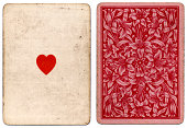 Antique ace of hearts 1864 with floral back design