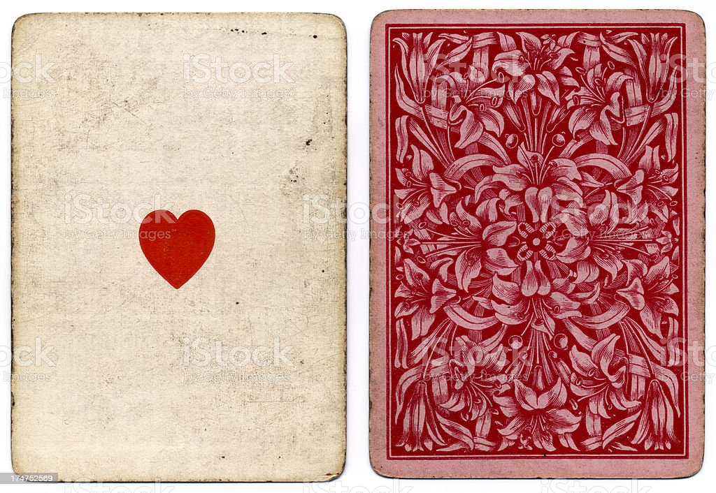 Antique ace of hearts 1864 with floral back design stock photo
