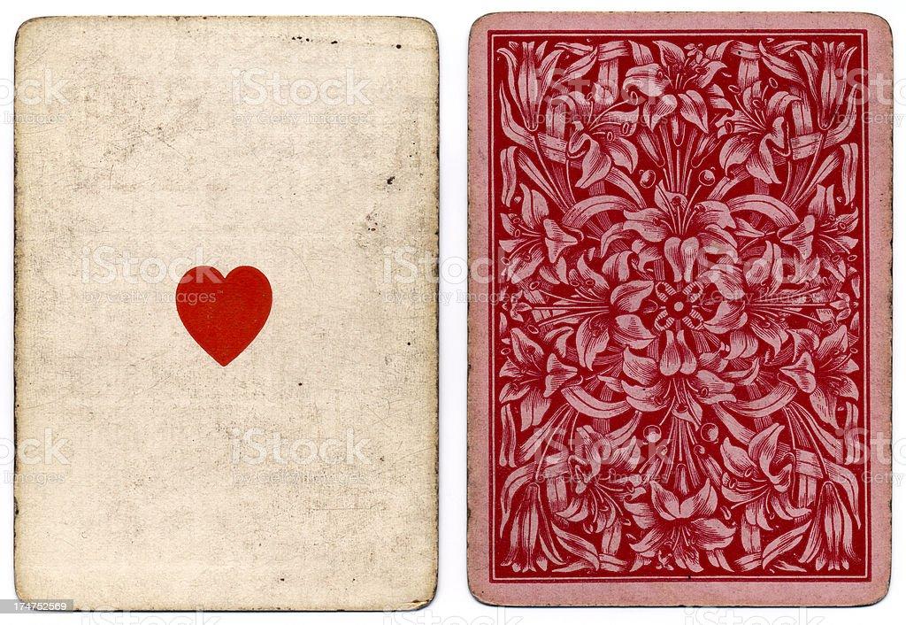 Antique As de coeur 1864 avec motif floral dans le dos - Photo